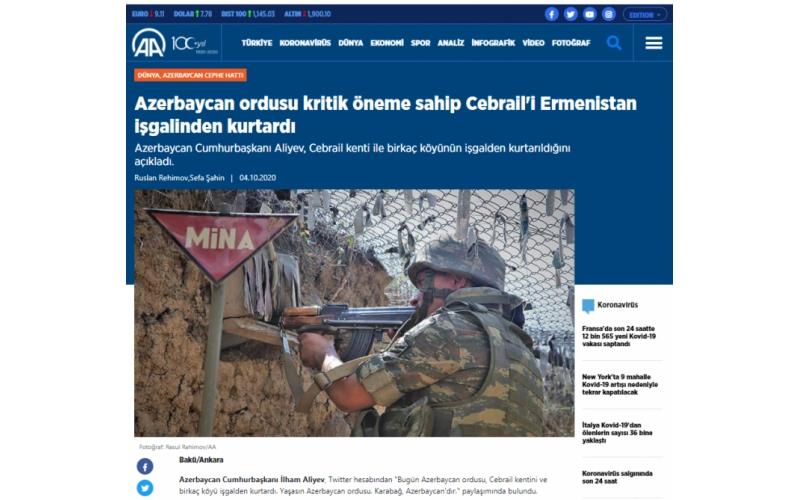 Türkiyə mediası: Cəbrayılın işğaldan azad olunması strateji əhəmiyyət daşıyır