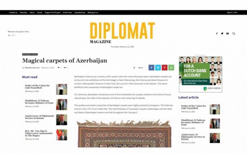 """Niderlandın """"Diplomat Magazine"""" jurnalında """"Azərbaycanın sehrli xalçaları"""" sərlövhəli məqalə dərc edilib"""
