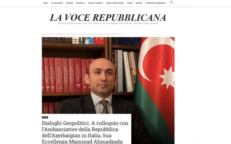 Azərbaycan səfirinin İtaliya mətbuatında geniş müsahibəsi dərc olunub