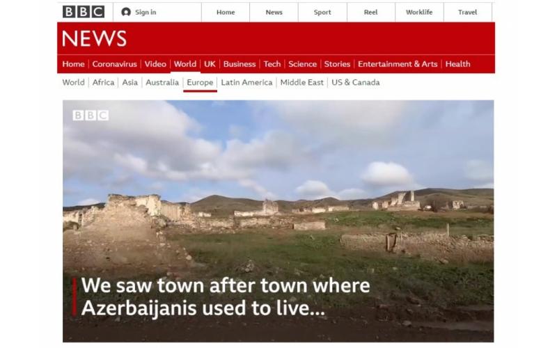 BBC-nin müxbiri işğaldan azad olunmuş ərazilərdən süjet hazırlayıb