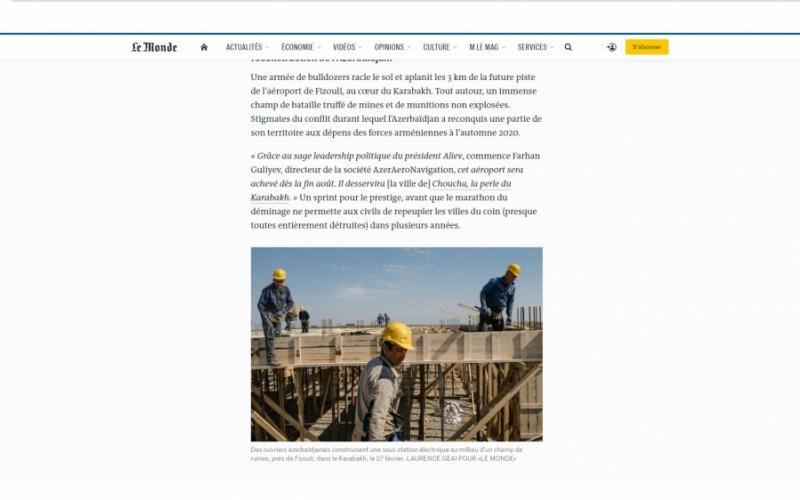 """""""Le Monde"""": Fransanın aparıcı şirkətləri Qarabağda həyata keçirilən böyük layihələrdən kənarda qalmaqdan ehtiyat edirlər"""