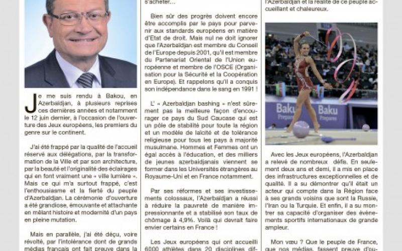 Fransalı deputat ilk Avropa Oyunları ərəfəsində Azərbaycanın üzləşdiyi qarayaxma kampaniyasını kəskin tənqid edib