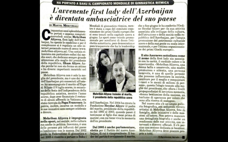 """""""İtalia Oggi"""" qəzeti: Azərbaycanın birinci xanımı ölkəsinin ən tanınmış simalarından biridir"""