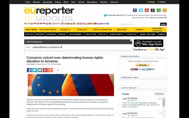 """Eureporter"" jurnalı Ermənistanda insan hüquqlarının pozulması hallarından yazır"