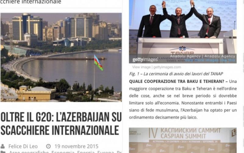 İtaliya portalı Azərbaycandan yazır