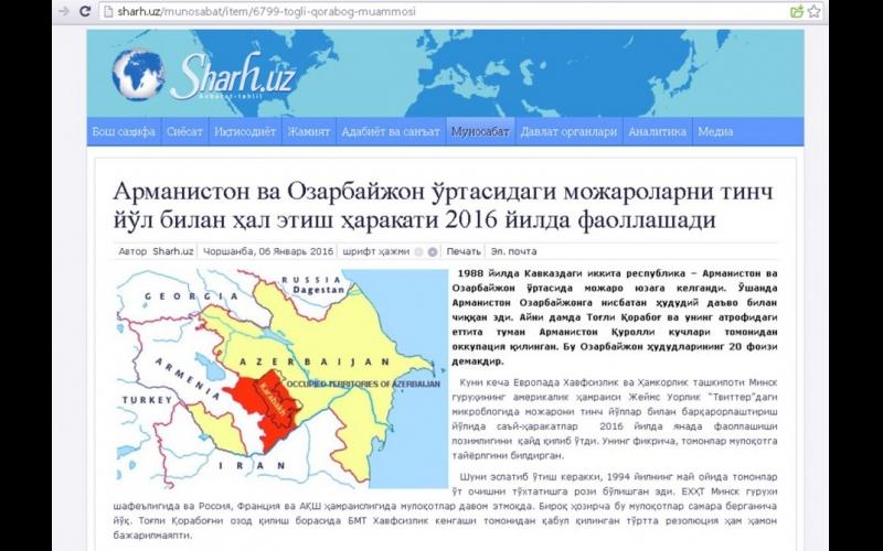 """Özbəkistanın """"Sharh.uz"""" portalı Dağlıq Qarabağ münaqişəsindən yazır"""