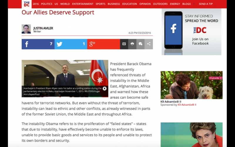 """""""The Daily Caller"""": ABŞ-ın etibarlı müttəfiq olan Azərbaycanı dəstəkləməsi vacibdir"""