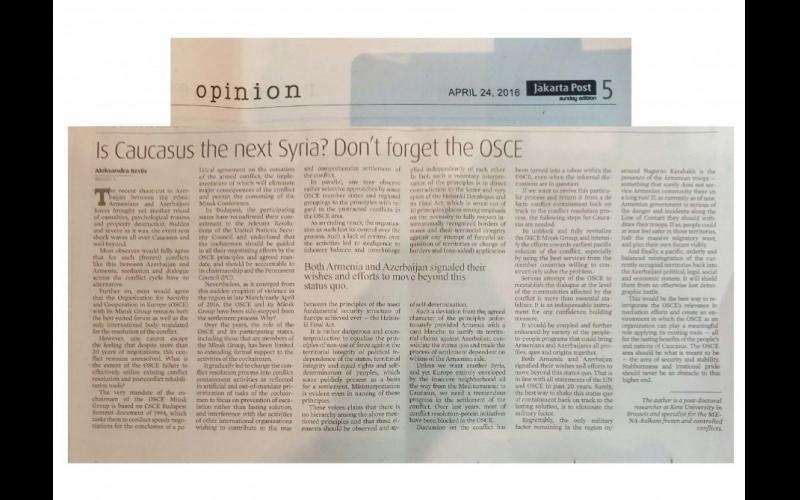 """""""The Jakarta Post"""" qəzetində Ermənistanı işğal etdiyi ərazilərdən çıxmağa çağıran məqalə dərc edilib"""