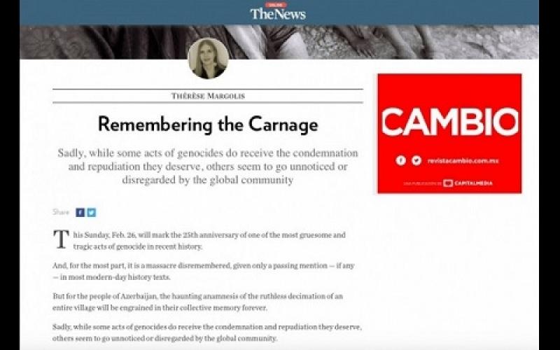 """""""The News"""": Ermənistanın Xocalı qətliamına görə cavab verməsi üçün dünya ictimaiyyəti qətiyyətli mövqe tutmalıdır"""