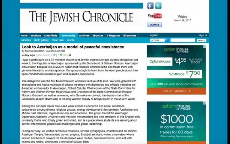 """""""The Jewish Chronicle"""": Azərbaycan dinc birgəyaşayışın modeli kimi"""
