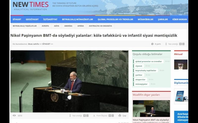 Nikol Paşinyanın BMT-də söylədiyi yalanlar: kölə təfəkkürü və infantil siyasi məntiqsizlik