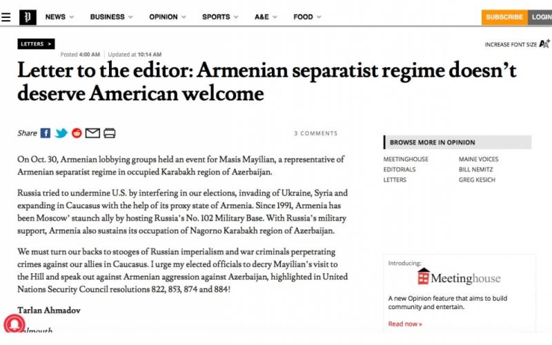 """""""The Press Herald"""" erməni separatçılarının Amerika tərəfindən qəbul edilməməsini çağıran məqalə yayıb"""