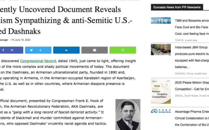 Amerikalı jurnalist ermənilərin nasizmi və antisemitizmi dəstəkləməsi barədə faktlardan yazıb