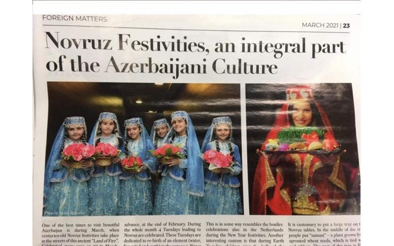 Niderland qəzeti : Novruz –Azərbaycan mədəniyyətinin ayrılmaz hissəsidir