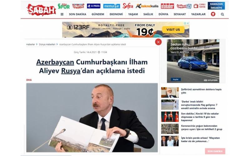 Türkiyə mediası Azərbaycan Prezidentinin ADA Universitetində keçirilən konfransdakı çıxışını işıqlandırmaqda davam edir