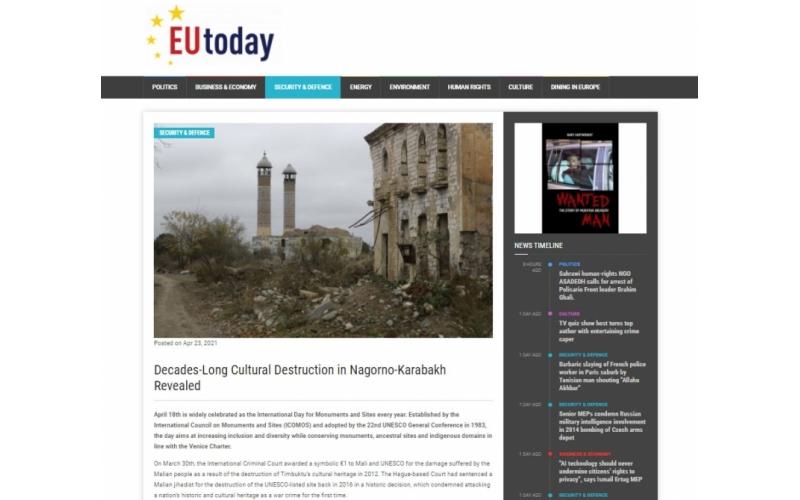 """""""EU Today"""": Qarabağda onilliklər ərzində maddi-mədəniyyət nümunələri məhv edilib"""