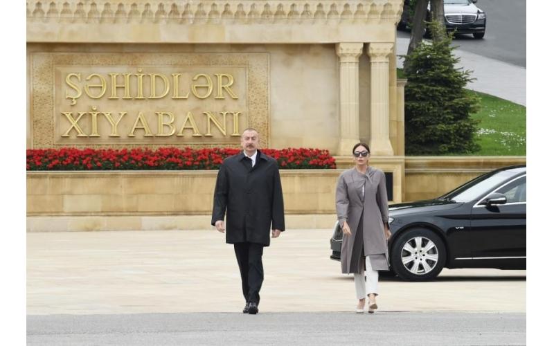 Prezident və birinci xanım Həzi Aslanovun abidəsini ziyarət edib