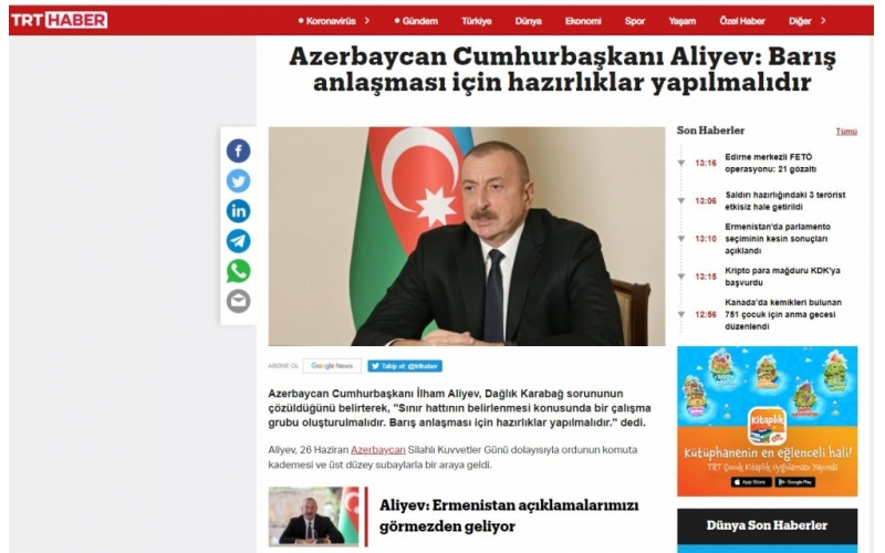 Türkiyə mediası Prezident İlham Əliyevin hərbçilərlə görüşündəki nitqindən mühüm məqamları geniş işıqlandırıb