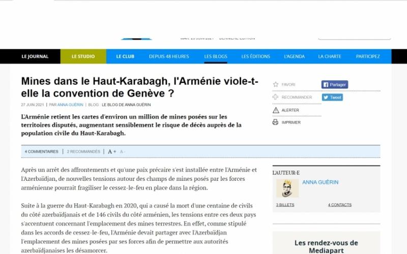 Fransa portalında Ermənistanın mina xəritələrini Azərbaycana verməməsi barədə məqalə dərc olunub