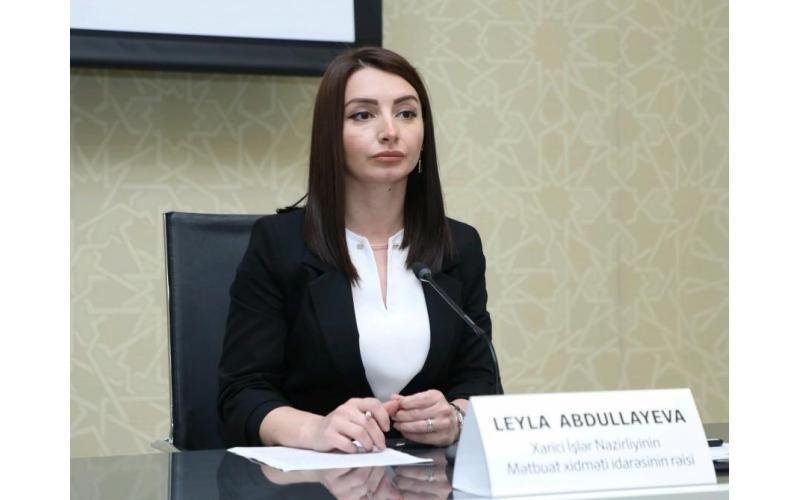 Leyla Abdullayeva: Azərbaycanın beynəlxalq sərhədləri çərçivəsindəki ərazisinə edilən hər hansı səfər Ermənistan tərəfindən şərh belə oluna bilməz