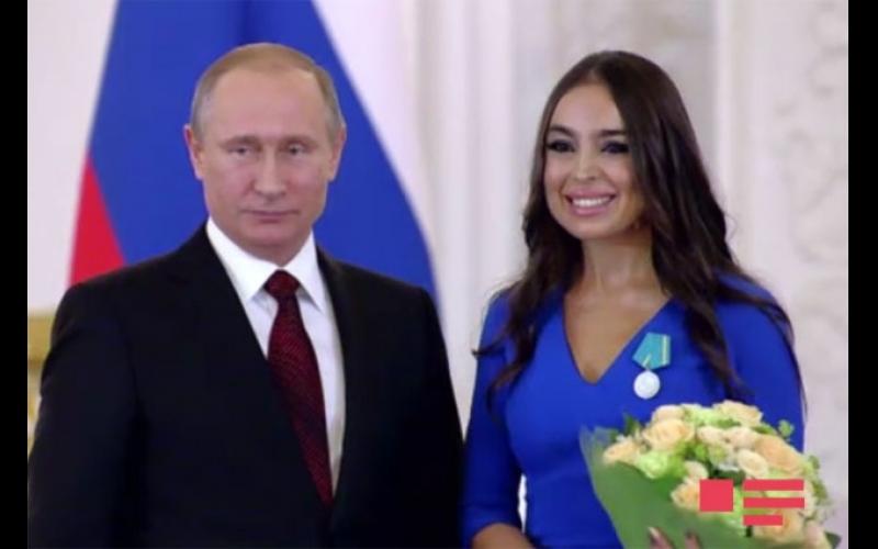 """Vladimir Putin """"Puşkin"""" medalını Leyla Əliyevaya təqdim edib"""